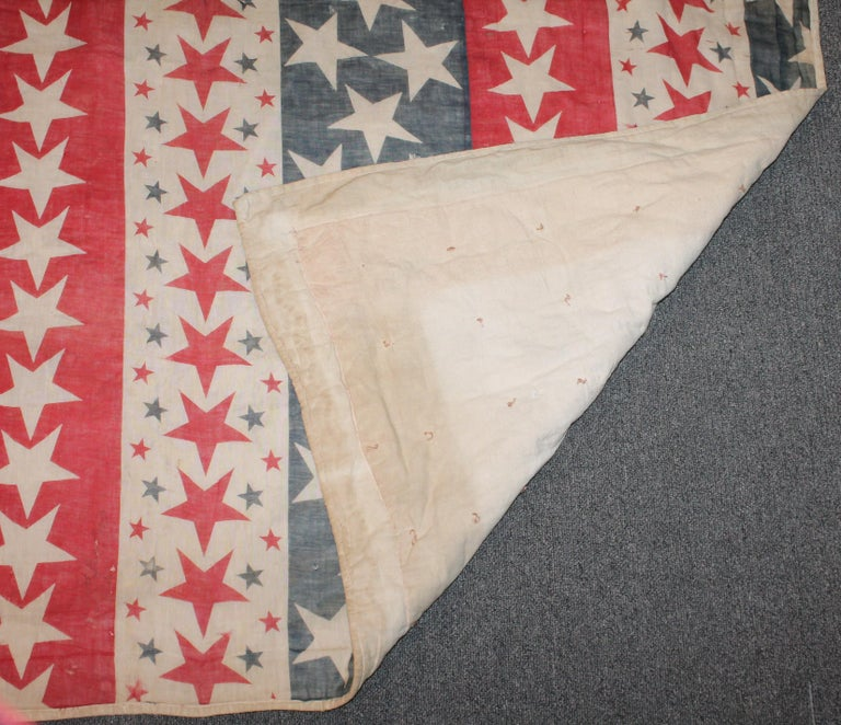 Late 19th Century 19th Century Patriotic Bunting Stars Tied Quilt Dated 1898 For Sale