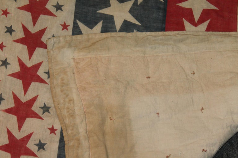 Cotton 19th Century Patriotic Bunting Stars Tied Quilt Dated 1898 For Sale