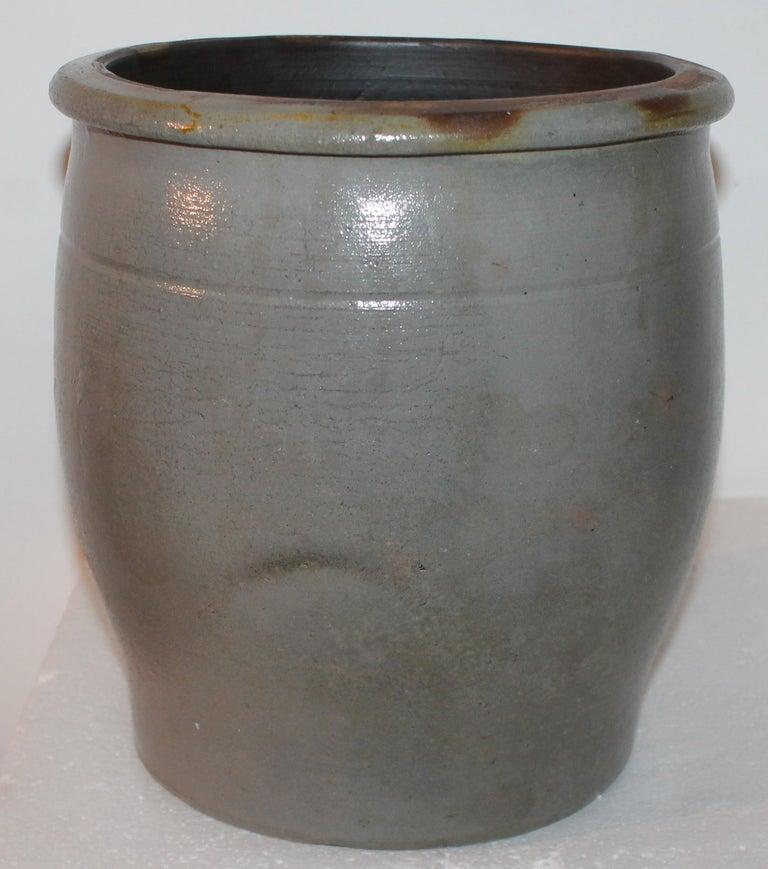 Adirondack 19th Century Pennsylvania Decorated Stone Ware Crock For Sale
