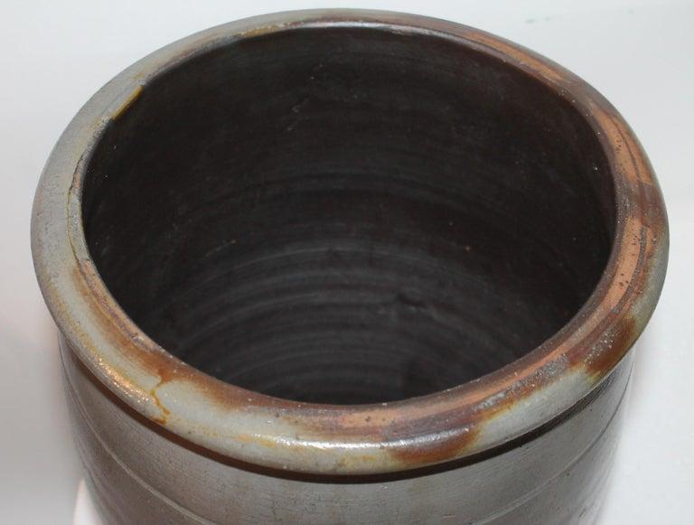 American 19th Century Pennsylvania Decorated Stone Ware Crock For Sale