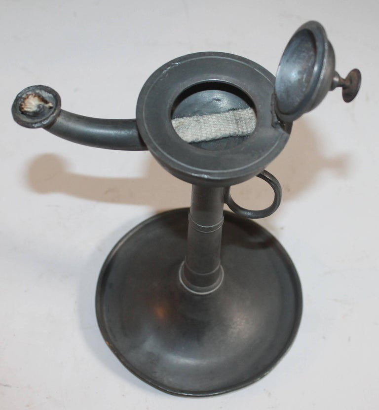 Hand-Crafted 19th Century Pewter Betty Lamp in Trumpet Form For Sale