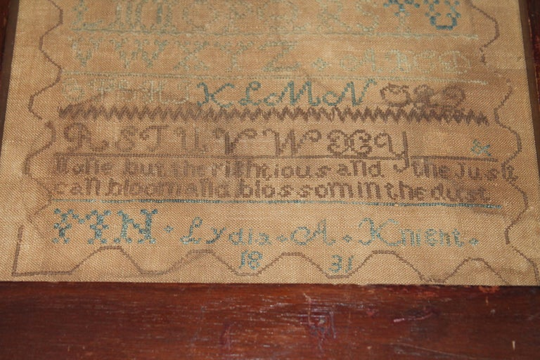 Signed Lydia A. Knight & dated 1831 this fine sampler was found in a Philadelphia . Pennsylvania estate. It is in very good condition but has two areas that are brownish or aged. It is like a patinaed homespun linen.