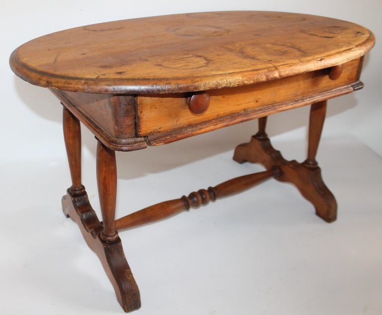 19th century old surface small scale coffee table or side table. The surface is very nice with a mellow patina. This has single drawer.