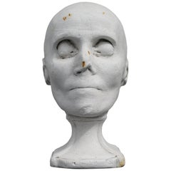 Plaster Mortuary Death Mask Bust Sculpture on Socle Base Memento Mori