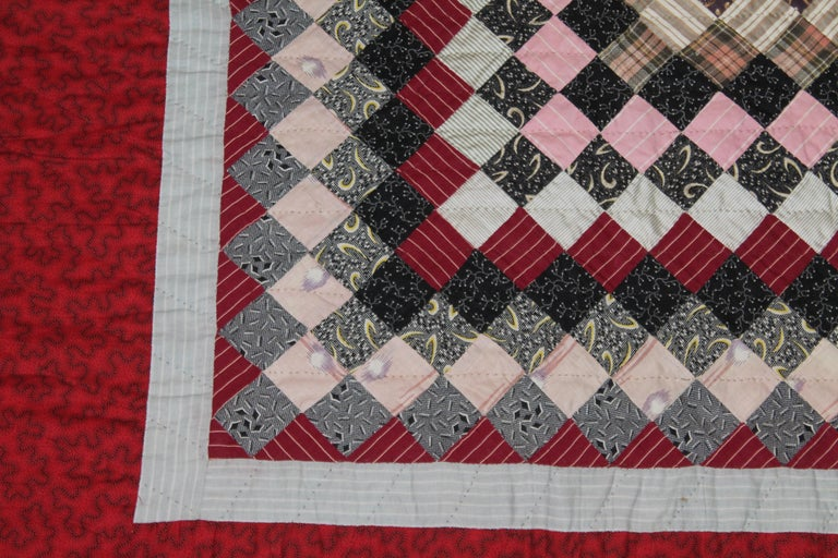 American 19Thc Postage Stamp Trip Around The World Quilt For Sale