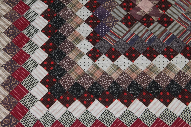 Hand-Crafted 19Thc Postage Stamp Trip Around The World Quilt For Sale