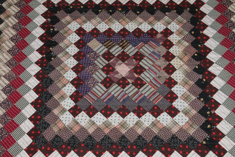 19Thc Postage Stamp Trip Around The World Quilt In Good Condition For Sale In Los Angeles, CA