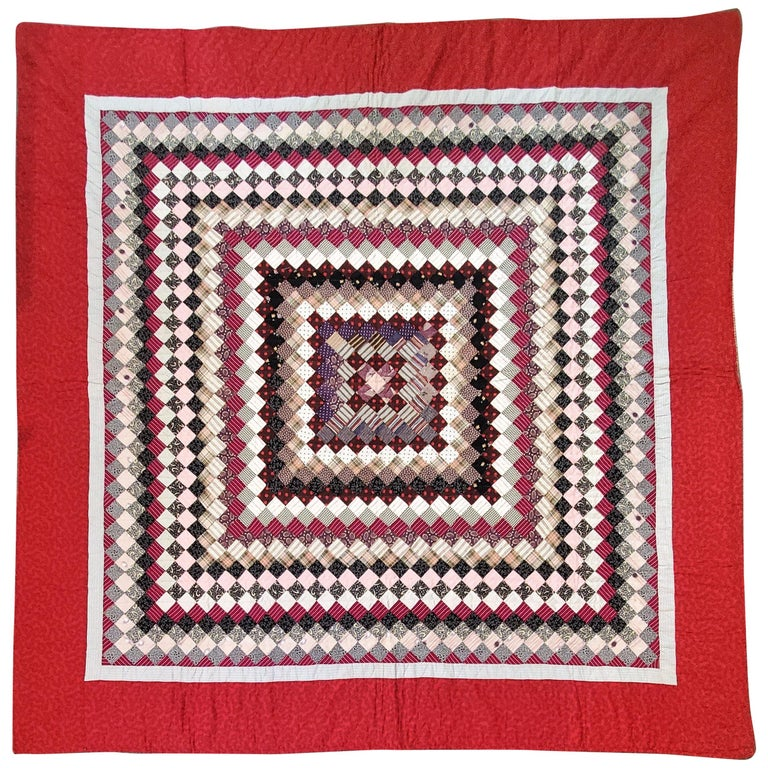 19Thc Postage Stamp Trip Around The World Quilt For Sale