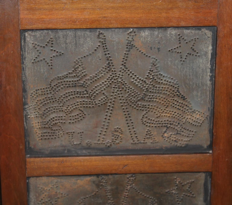 Hand-Crafted 19thc Punched Tin Cross Flags Pie Safe For Sale