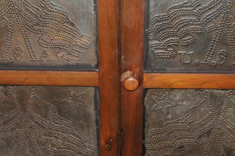 Metal 19thc Punched Tin Cross Flags Pie Safe For Sale