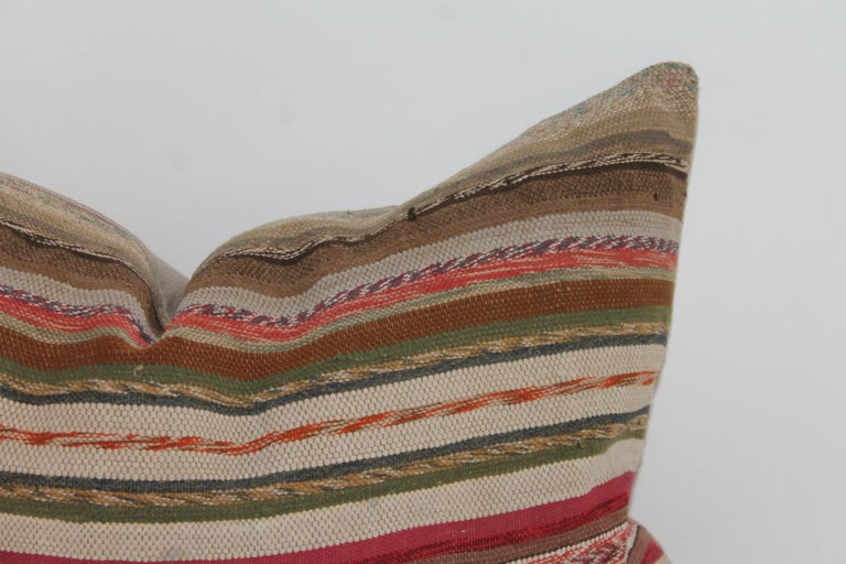 American 19th Century Rag Rug Country Colors Pillows, 2 For Sale