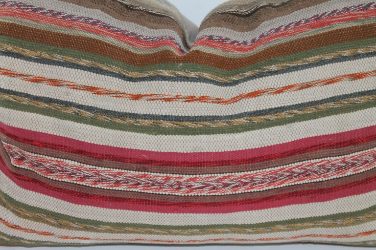 Hand-Crafted 19th Century Rag Rug Country Colors Pillows, 2 For Sale
