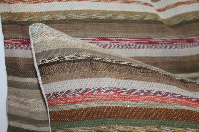 19th Century Rag Rug Country Colors Pillows, 2 In Good Condition For Sale In Los Angeles, CA