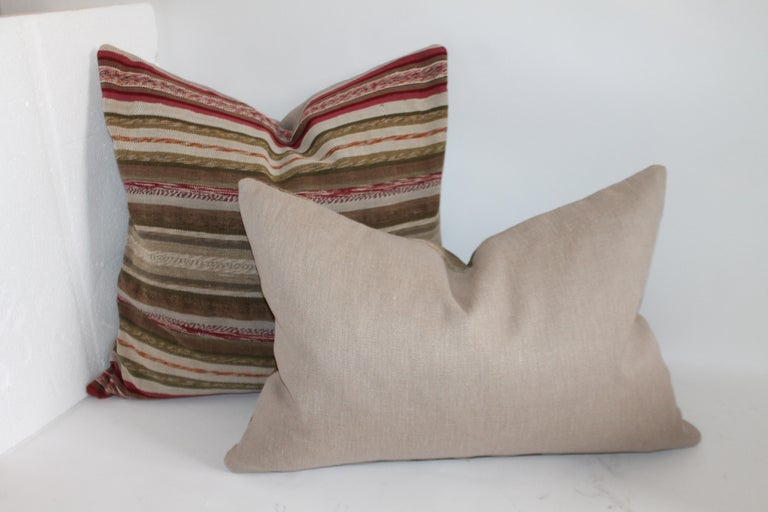 Cotton 19th Century Rag Rug Country Colors Pillows, 2 For Sale