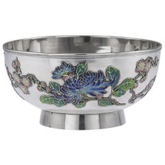 19th Century Rare Chinese Export Solid Silver & Enamel Bowl, Wo Kwong circa 1890