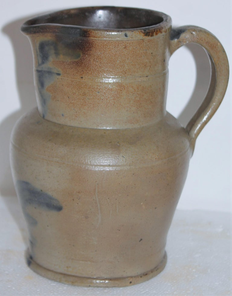 Country 19thc Rare Small Decorated Stoneware Pitcher For Sale