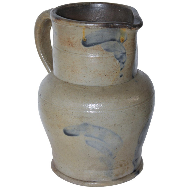 19thc Rare Small Decorated Stoneware Pitcher For Sale