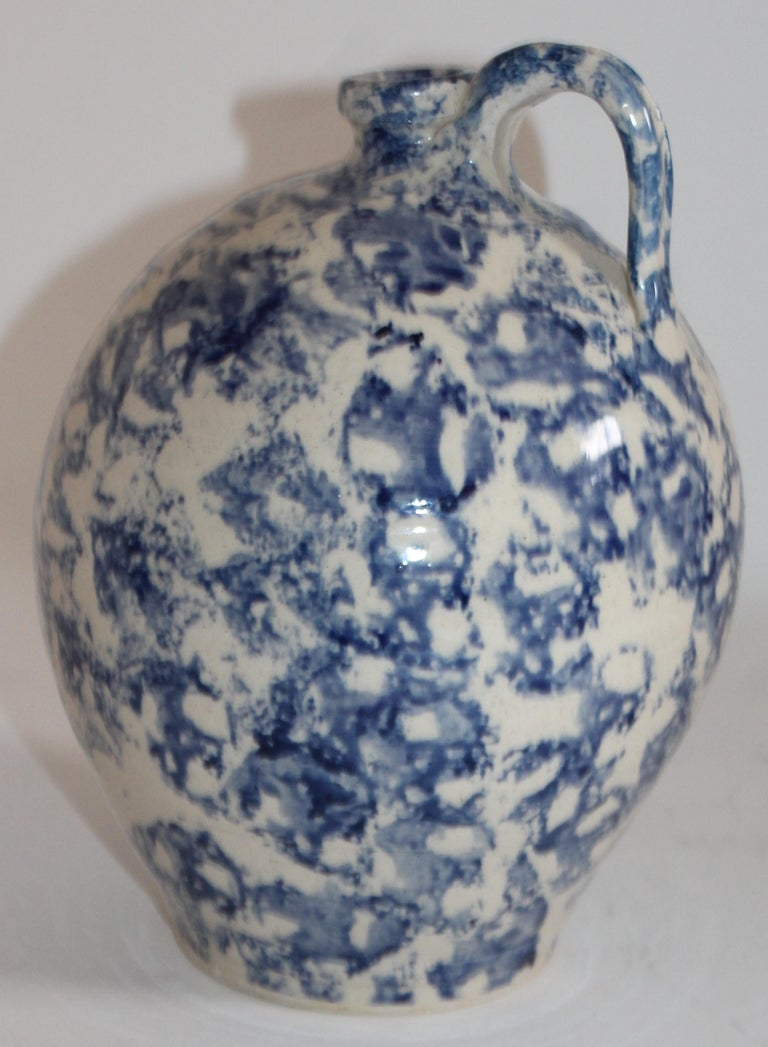 Adirondack 19th Century Rare Sponge Ware Pottery Jug For Sale