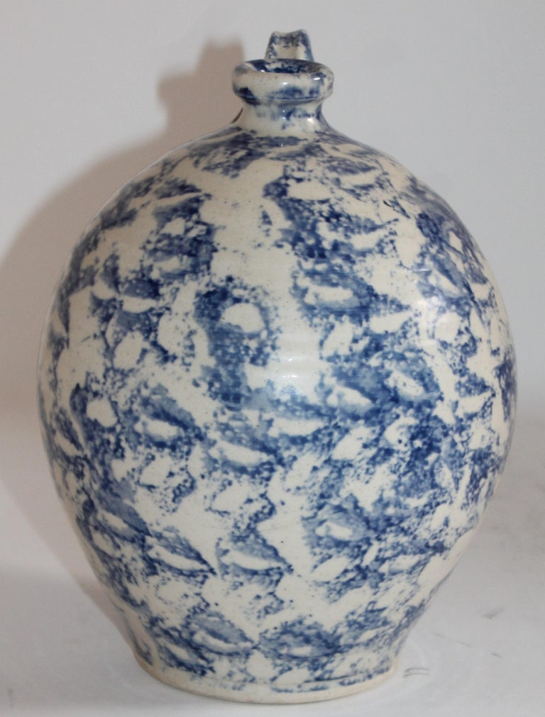 Hand-Crafted 19th Century Rare Sponge Ware Pottery Jug For Sale