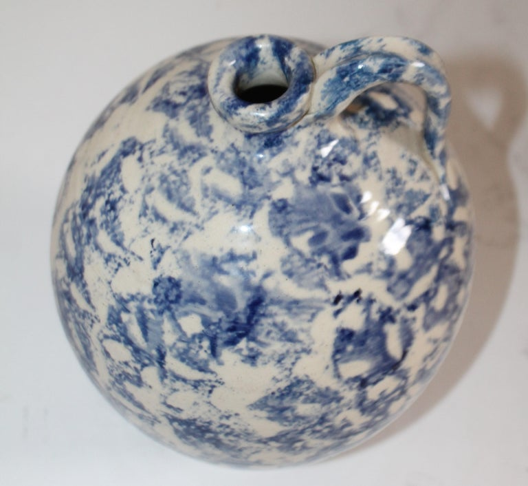 19th Century Rare Sponge Ware Pottery Jug For Sale 1