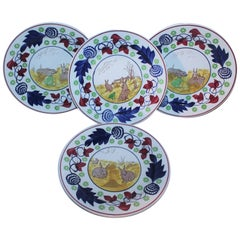 19th Century Rare Stick Spatter Rabbit Plates / Set of Four