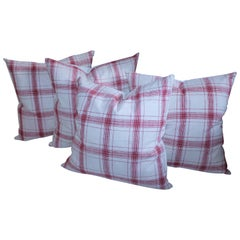 19th Century Red and White Homespun Linen Pillows
