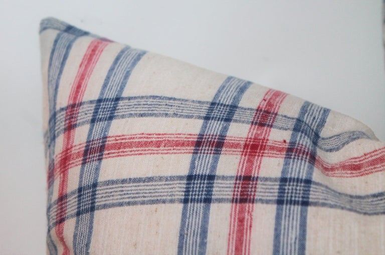 Adirondack 19th Century Red and Blue Linen Pillows / Collection of Four For Sale