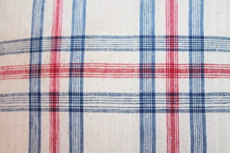 English 19th Century Red and Blue Linen Pillows / Collection of Four For Sale