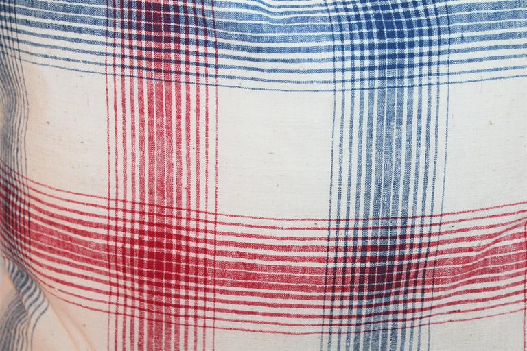 Hand-Crafted 19th Century Red and Blue Linen Pillows / Collection of Four For Sale