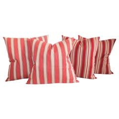 19th Century Red and Tan Striped Ticking Pillows / 2 Pairs