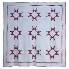 19th Century Red and White Feathered Star Quilt