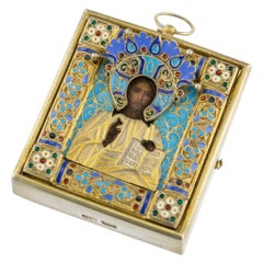19th Century Russian Silver-Gilt & Enamel Icon of Christ Pantokrator, circa 1890