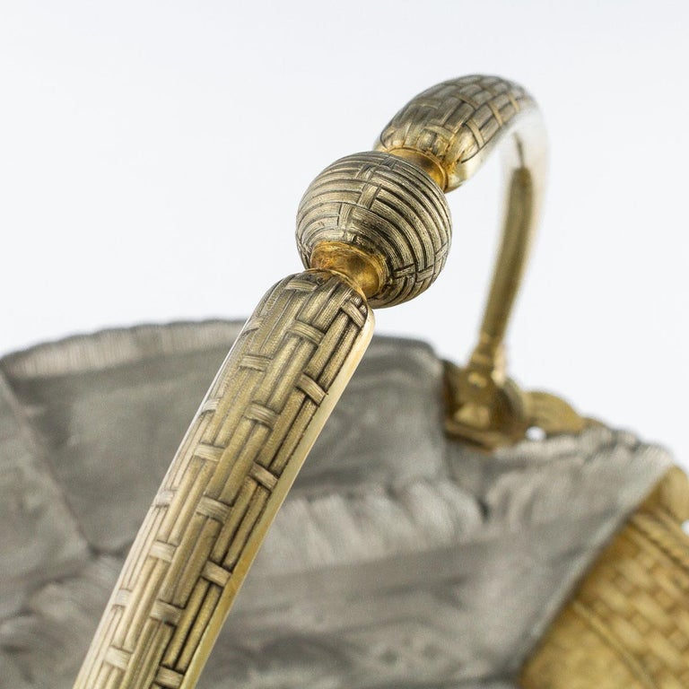 19thc Russian Solid Silver Trompe L'oeil Baskets by Pavel Ovchinnikov C.1893 For Sale 10
