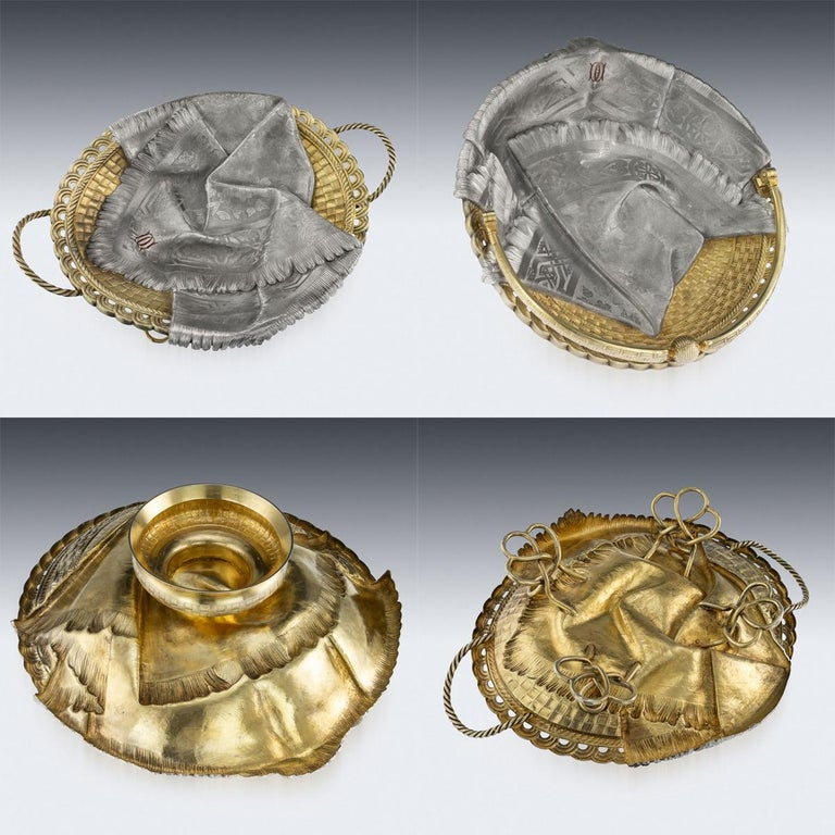 19th Century 19thc Russian Solid Silver Trompe L'oeil Baskets by Pavel Ovchinnikov C.1893 For Sale