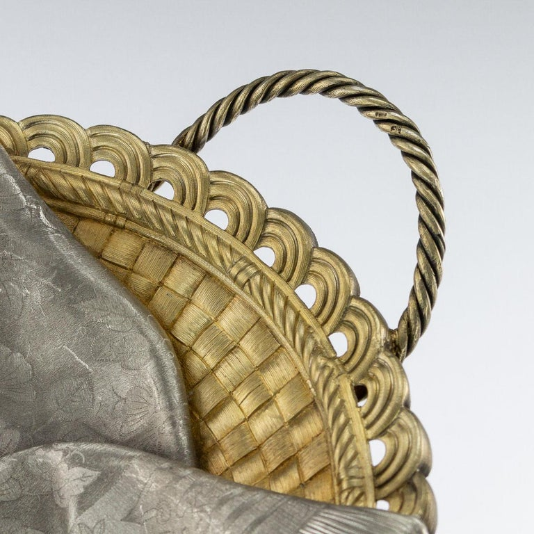 19thc Russian Solid Silver Trompe L'oeil Baskets by Pavel Ovchinnikov C.1893 For Sale 1
