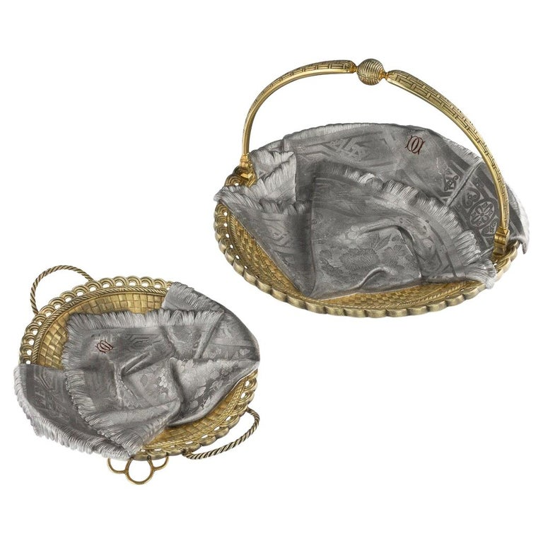 19thc Russian Solid Silver Trompe L'oeil Baskets by Pavel Ovchinnikov C.1893 For Sale