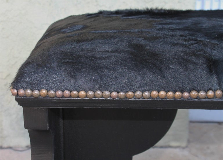 Pair of 19th Century Rustic Black Painted Cowhide Benches For Sale 4