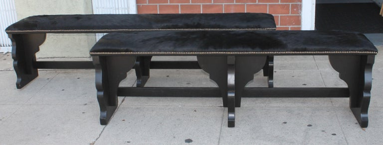 Adirondack  Pair of 19th Century Rustic Black Painted Cowhide Benches For Sale