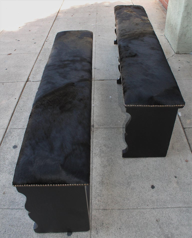 American  Pair of 19th Century Rustic Black Painted Cowhide Benches For Sale