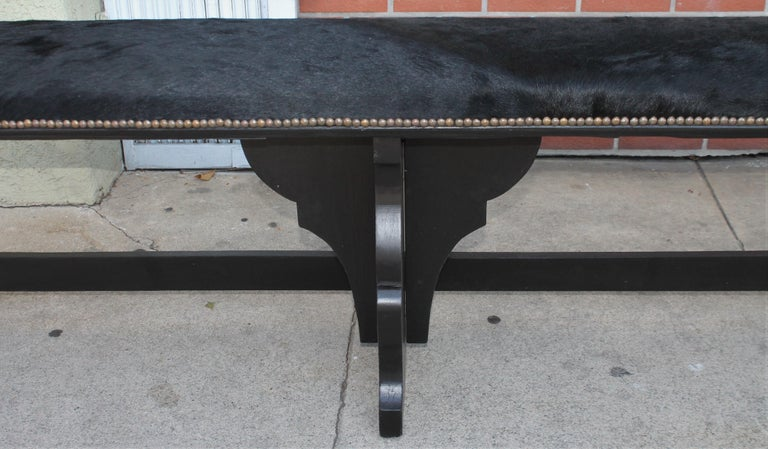 Pair of 19th Century Rustic Black Painted Cowhide Benches For Sale 1