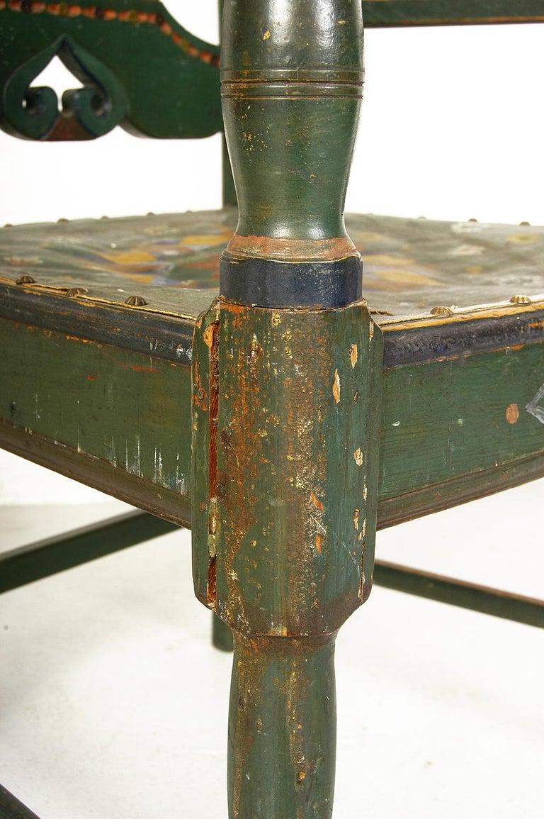 Scandinavian Decorative Swedish Dalarna Folk Art Chair Original Paint For Sale 7
