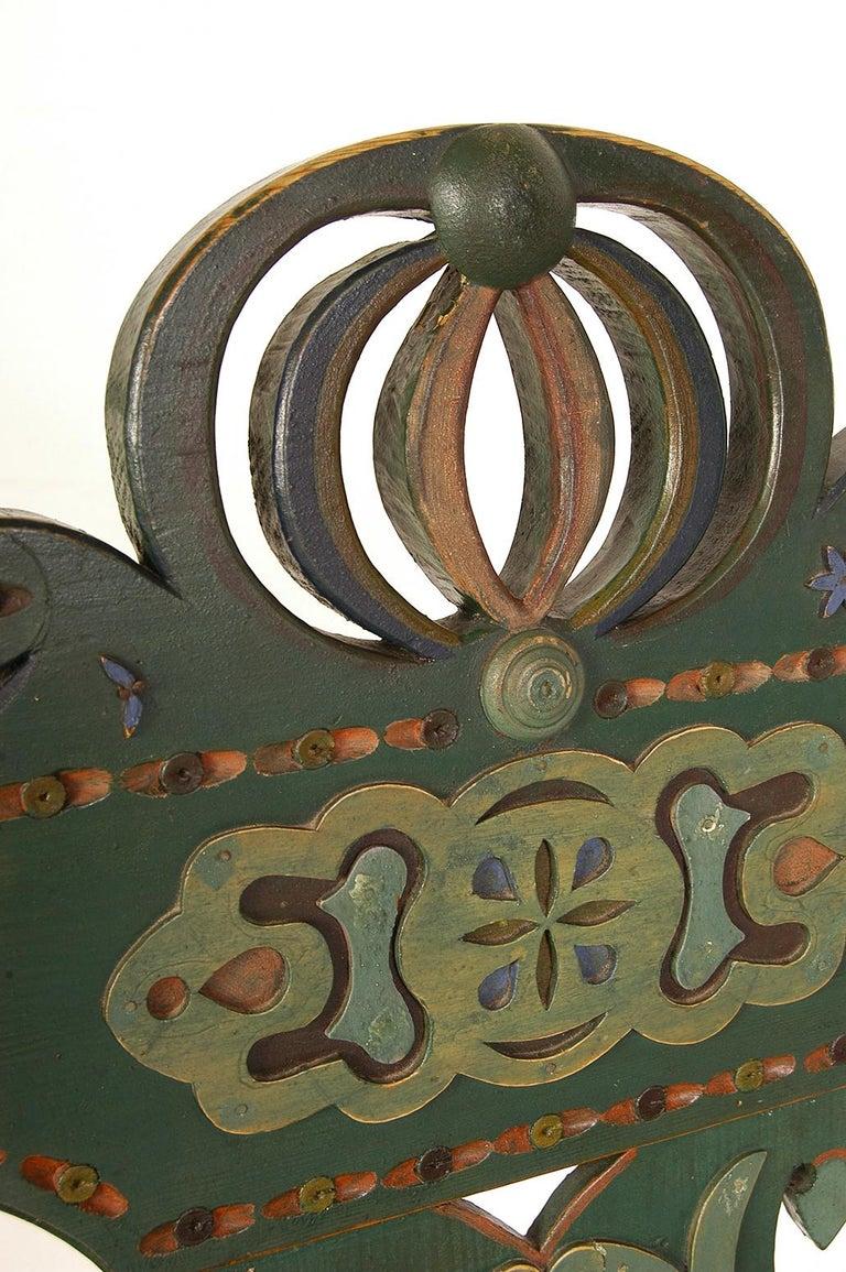 Scandinavian Decorative Swedish Dalarna Folk Art Chair Original Paint For Sale 9