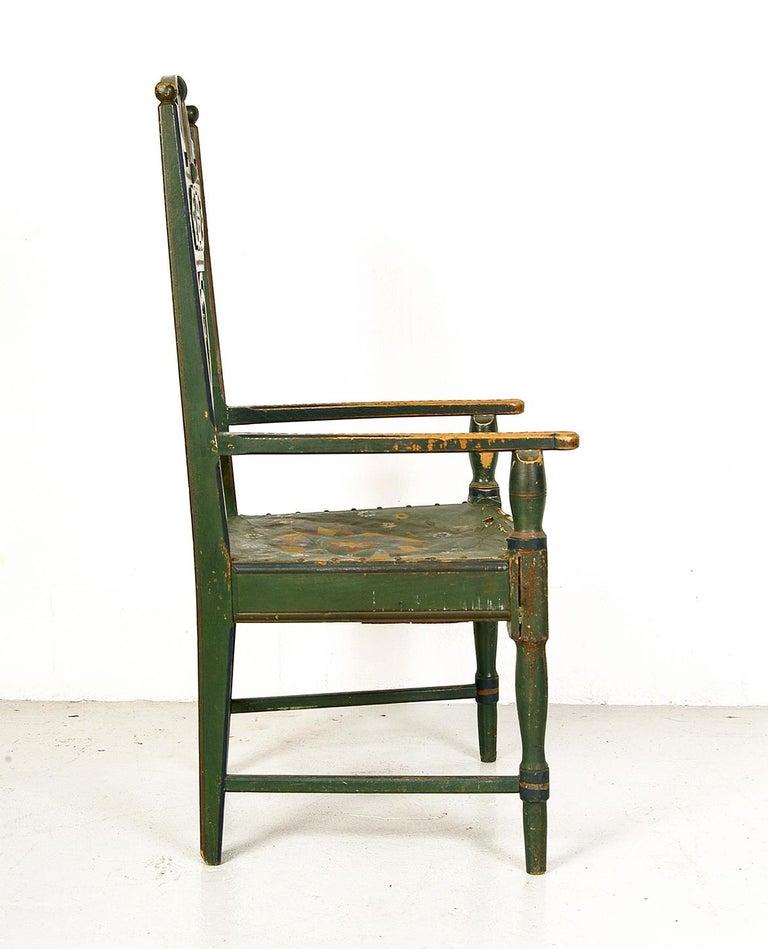 Hand-Carved Scandinavian Decorative Swedish Dalarna Folk Art Chair Original Paint For Sale
