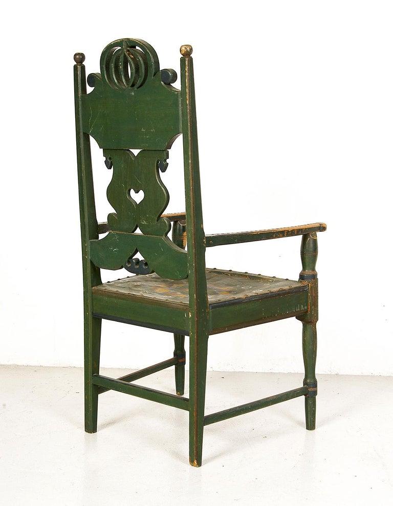 Scandinavian Decorative Swedish Dalarna Folk Art Chair Original Paint In Good Condition For Sale In Sherborne, Dorset