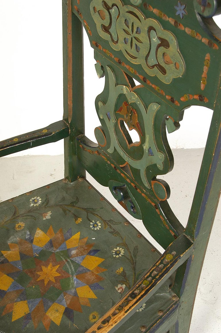 19th Century Scandinavian Decorative Swedish Dalarna Folk Art Chair Original Paint For Sale