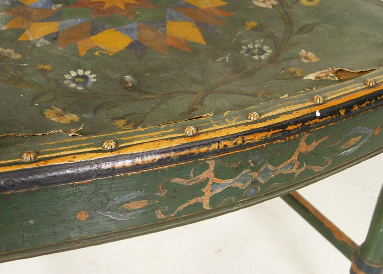 Scandinavian Decorative Swedish Dalarna Folk Art Chair Original Paint For Sale 2