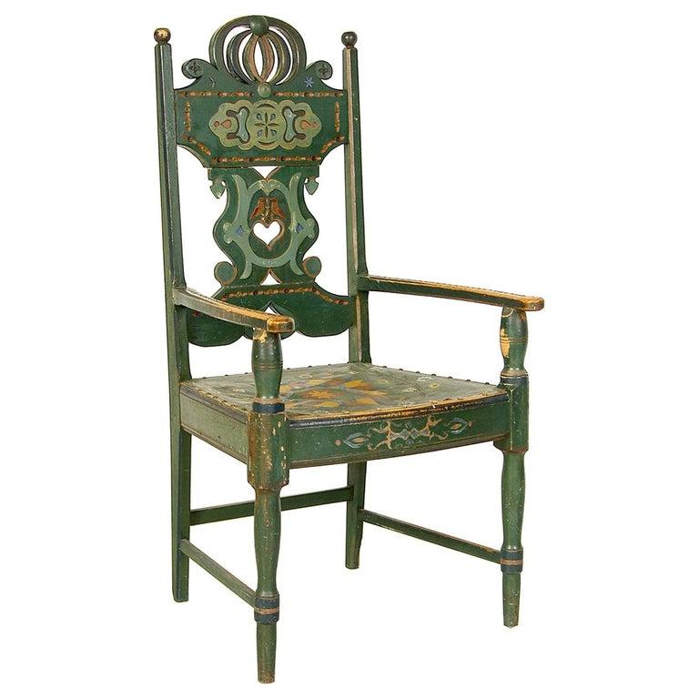 Scandinavian Decorative Swedish Dalarna Folk Art Chair Original Paint For Sale
