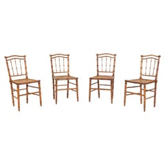 19thC Set of 4 French Faux Bamboo Rattan Chairs