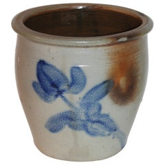 19thc Shenfelter Tulip Cobalt Blue 1 Galon Crock