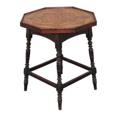 19th Century Side Table with Inlaid Game Board Top
